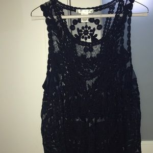 Sheer lacy navy flowy tank top